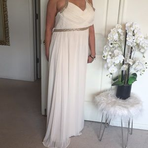 NWT Calvin Klein cream beaded long gown sz 10